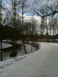 Is på Odense Å og sne på stien. Rigtig vinterløbevejr.