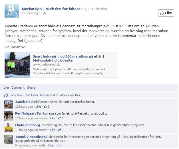 Facebook - Motionsløb 2013.01.10