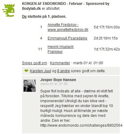 Challenge 2013.02.28 - KONGEN AF ENDOMONDO - Februar - Sponsored by Bodylab.dk 1
