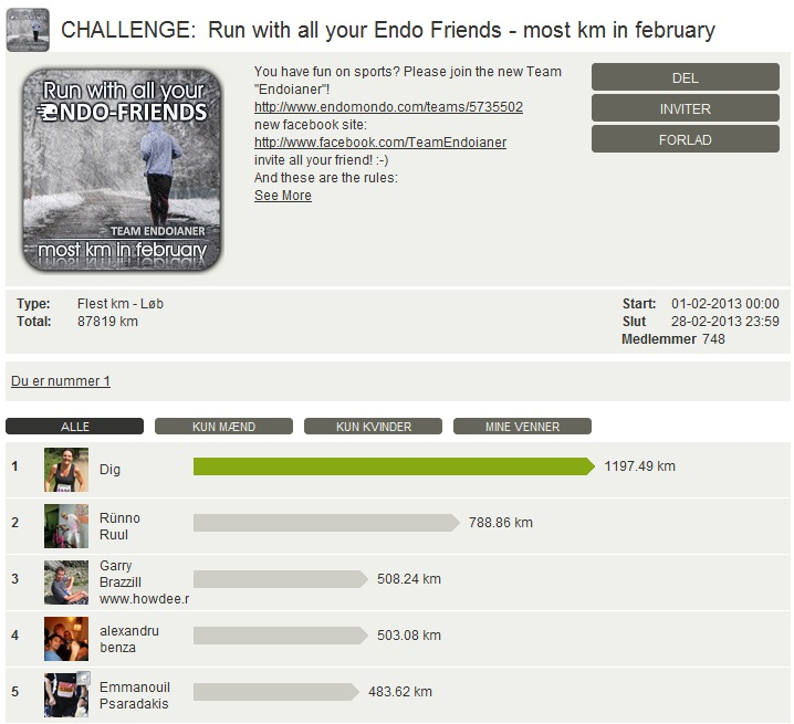 Challenge 2013.02.28 - Run with all your Endo Friends - most km in february