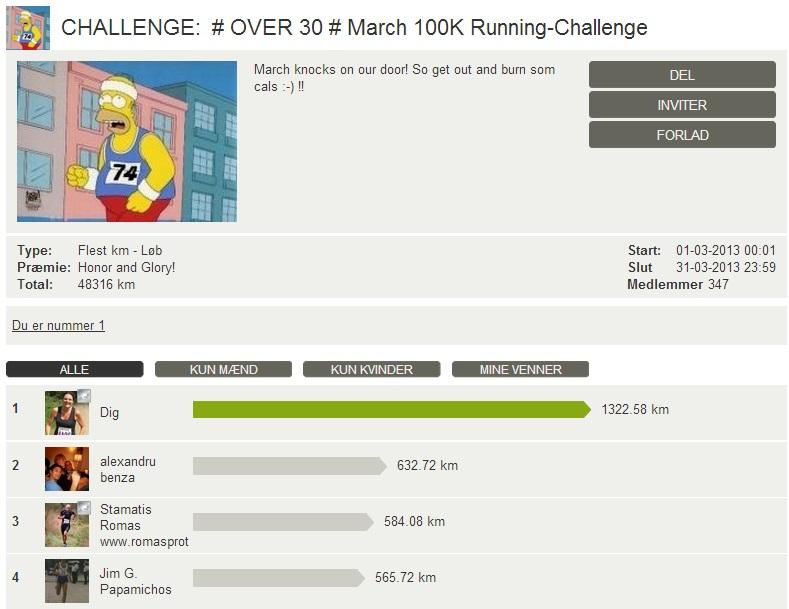 Challenge 2013.03.31 - # OVER 30 # March 100K Running-Challenge