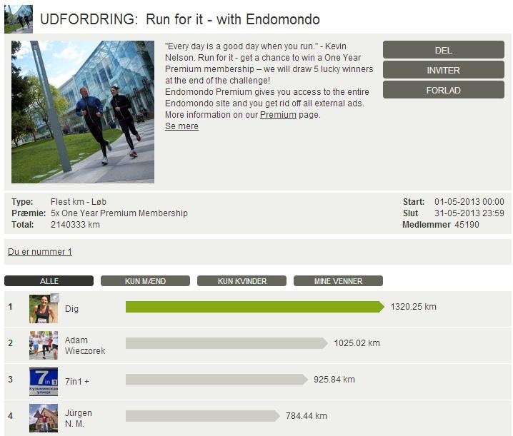 Challenge 2013.05.31 - Run for it - with Endomondo