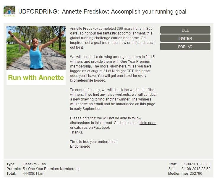 Challenge 2013.08.31 - Annette Fredskov Accomplish your running goal