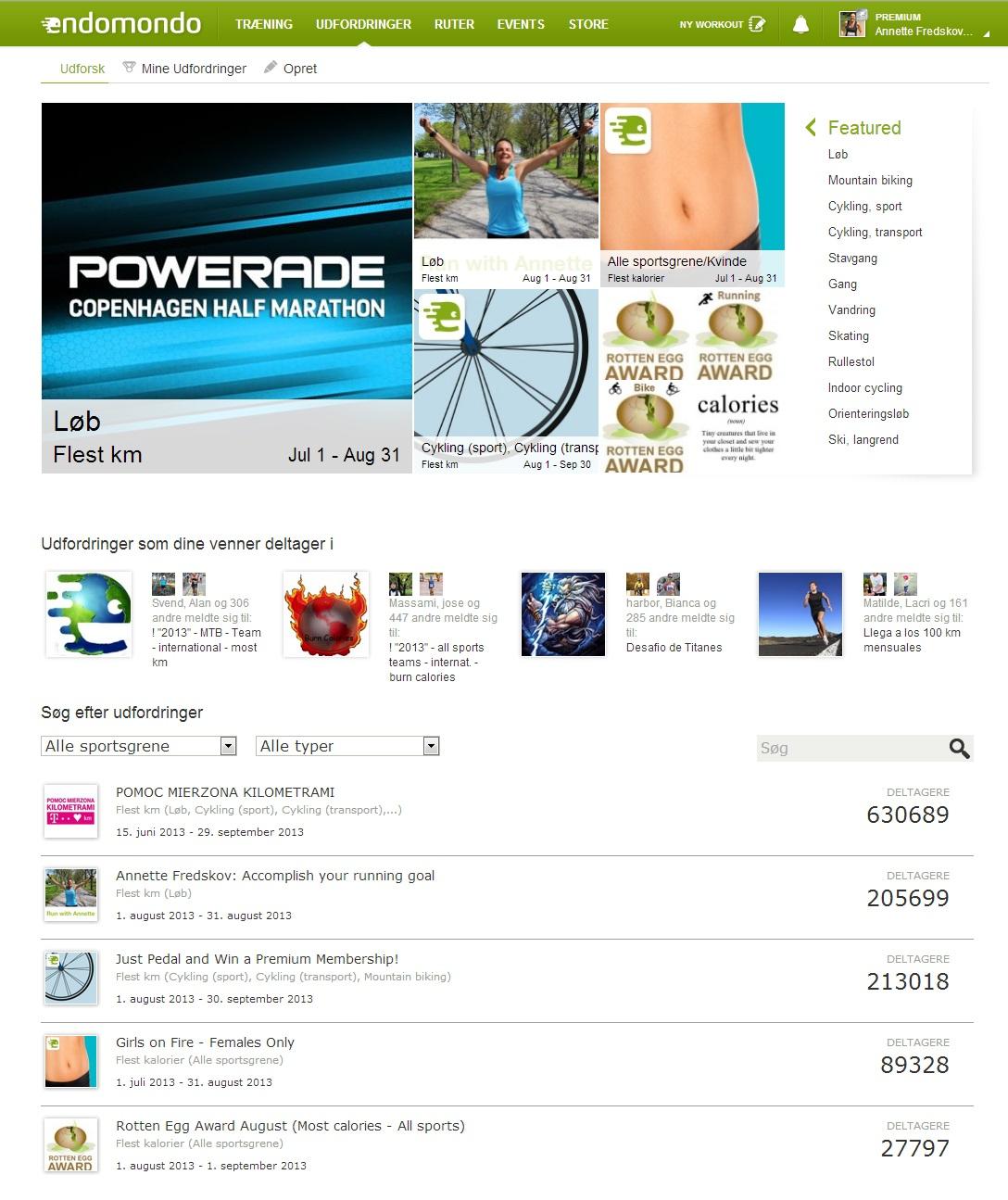 Endomondo Challenge Overview 2013.08