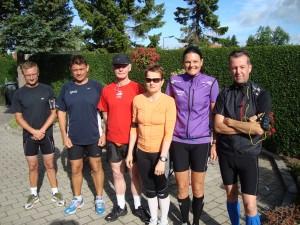 Dennis Rasmussen, Hans Jørgensen, Preben Poulsen, Malene Ravn, Annette Fredskov, Torben Larsen - klar til start - 42,2 km forude :-)