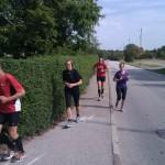 Så er vi ved at være i mål. 150 meter igen. Forrest Henning Baginski, min kære mor, Christina Lagersted og til sidst mig