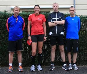 Startfeltet til Fredskov Marathon, Løb 66, 366/T365. Tony Gren, Annette Fredskov, Brian Greve-Rasmussen, Carsten Jensen (Jonas Ørum nåede ikke startbilledet)