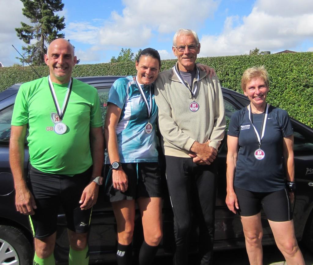 Alle glade i mål efter 42,2 km. Lars Christensen, Annette Fredskov, Søren Jensen (Min seje far), Lene Bruun