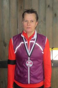 En gennemblødt Malene Ravn i mål efter at have løbet sit marathon nummer 50 i regnvejr - stort tillykke :-)