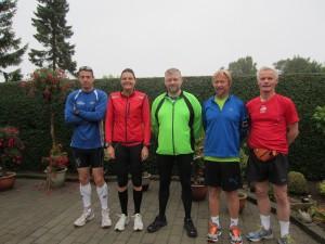 Rene Hjorth Olsen, Annette Fredskov, Kurt Damsgaard, Tony Gren, Preben Poulsen klar til Fredskov Marathon, Løb nr. 75 -366/365
