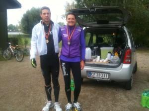 I mål efter 42,2 km i selskab med Rene Hjorth Olsen.