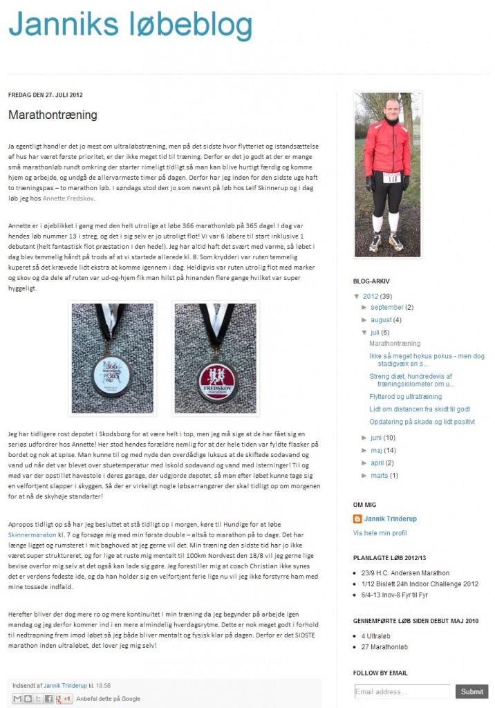Blog - Janniks løbeblog 2012.07.27