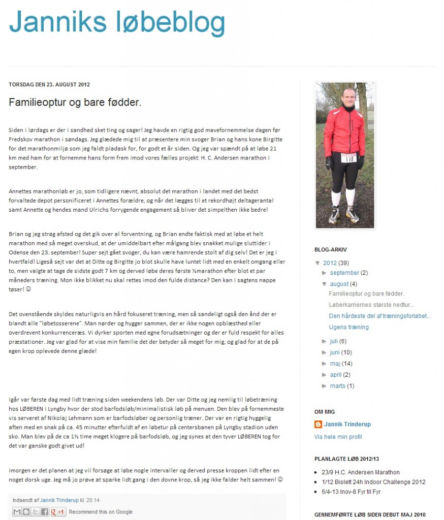 Blog - Janniks løbeblog 2012.08.23