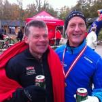 Ulrik Bruun og Michael Zimmermann glade i mål. Stort tillykke til Zimmermann med marathon nr. 100 :-)