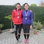 Annette Fredskov og Graziella Sharifpour efter 42.2 hyggelige km.