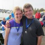Lene og Ulrik Bruun glade i mål. Gennem marathon har jeg lært så mange dejlige mennesker at kende.