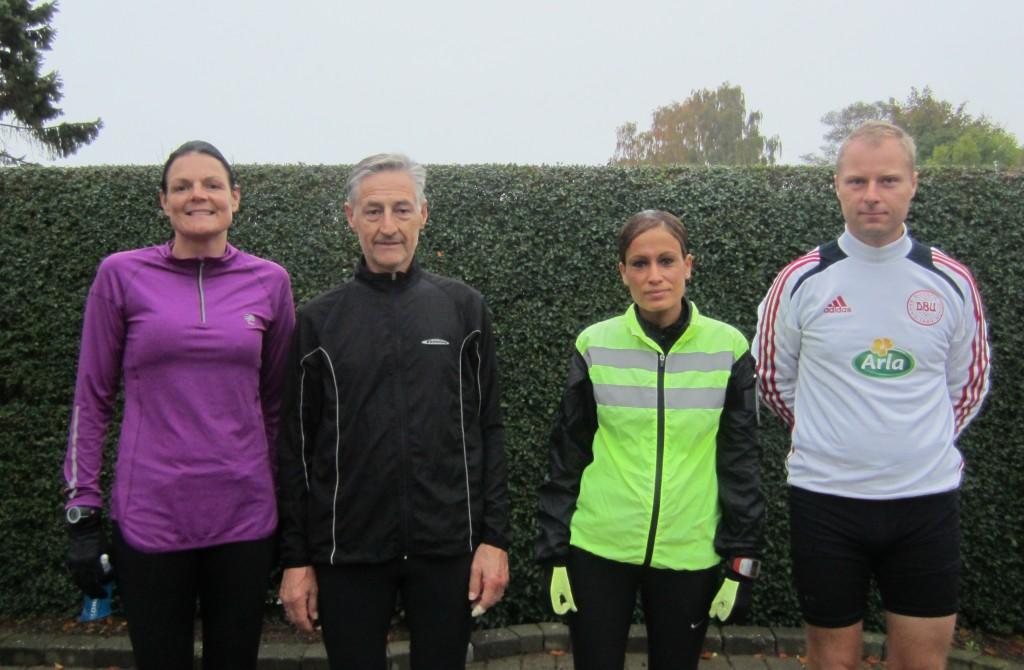 Klar til Fredskov Marathon en efterårsdag i oktober. Annette Fredskov, Henning Baginski, Bouchra Lundgren Eriksen, Nicholas Felten