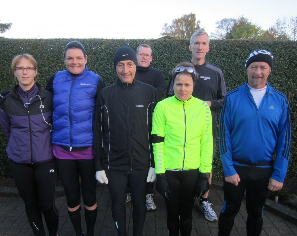 Startfeltet til mit marathon nr 200: Christina Lagersted, Annette Fredskov, Henning Baginski, Jakob Lagersted, Malene Ravn, Jerk W. Langer, Tony Gren