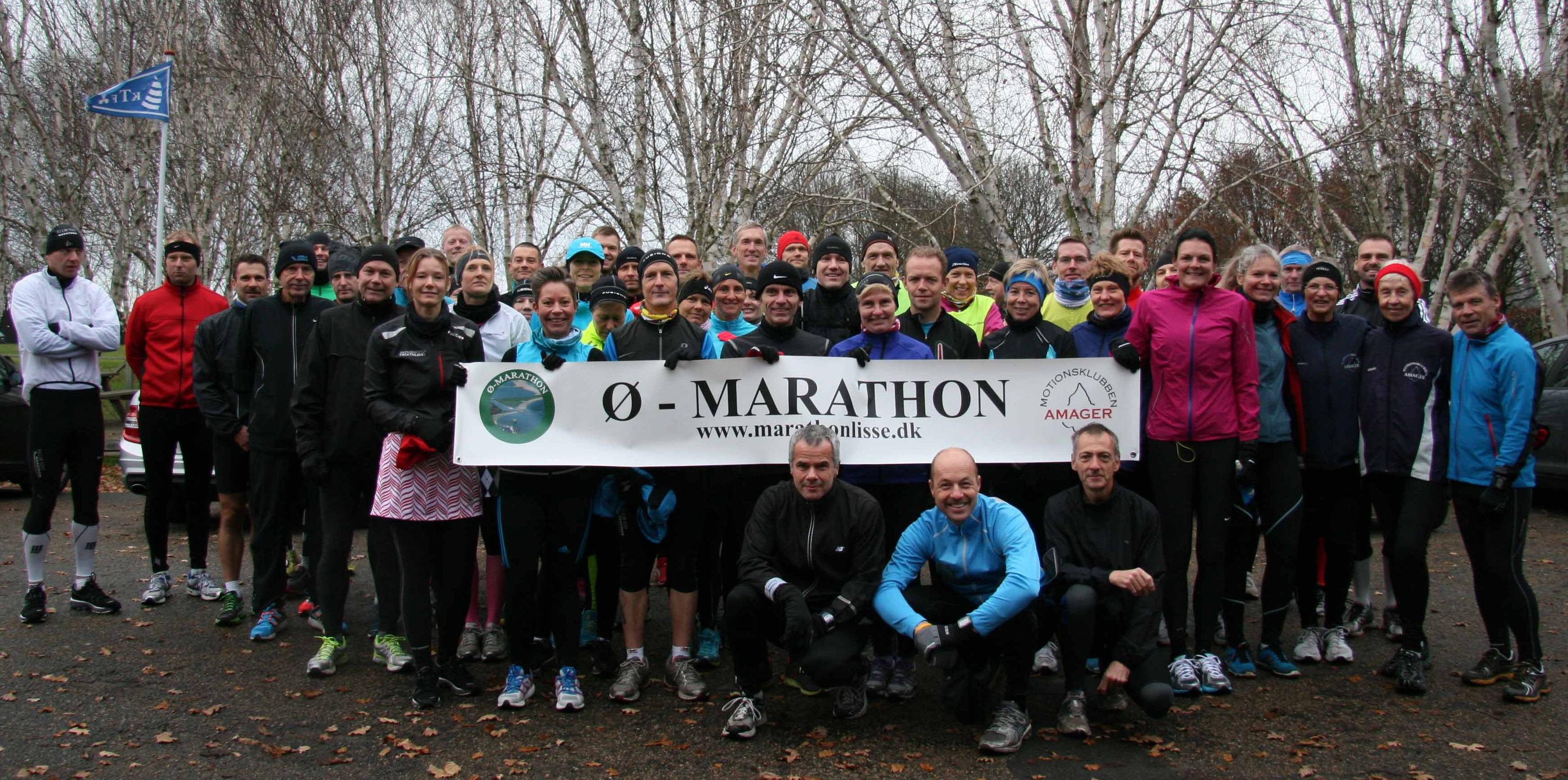 Startfeltet til Ø-Marathon den sidste søndag i november - en rigtig efterårsdag