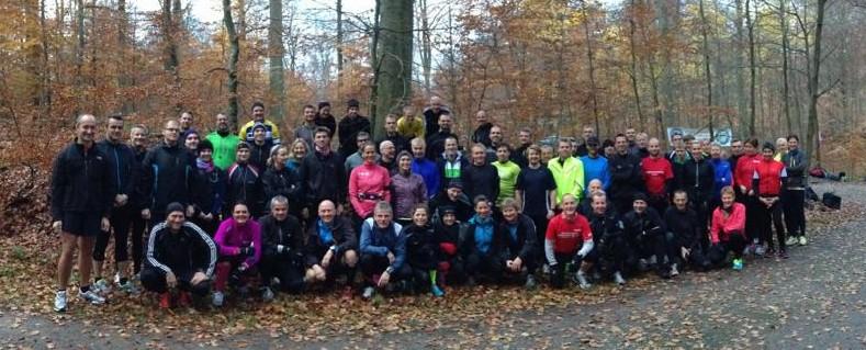 Mange til start i Skodsborg til enten halvmarathon eller marathon. Foto: Morten Walter med iPhone5 :-)
