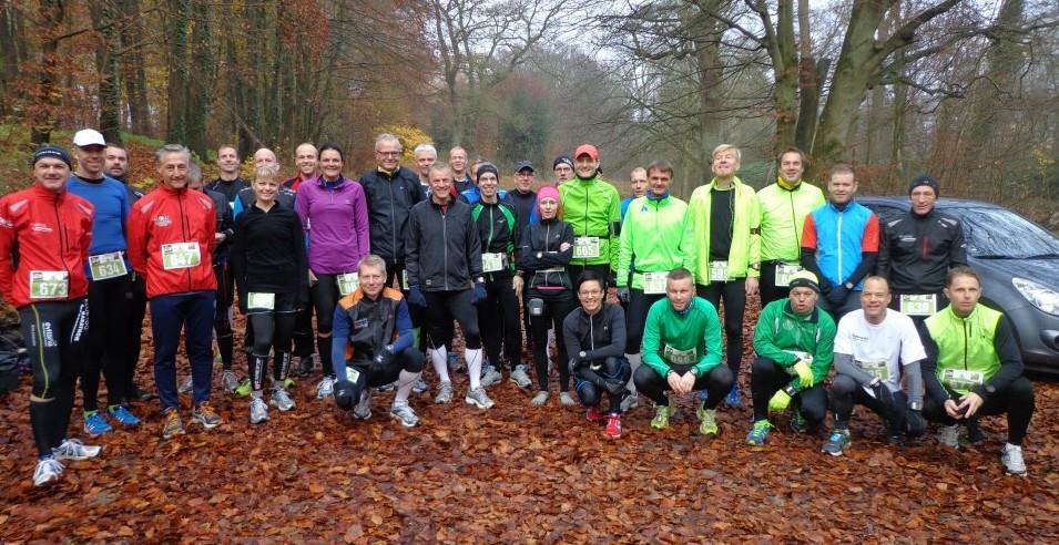 Vi var mange til start i dag i Fruens Bøge - både til halvmarathon og marathon. Her er marathonløberne. Foto: Ole Cramer