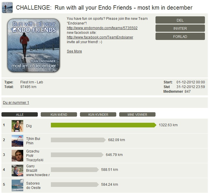 Challenge 2012.12.31 - Run with all your Endo Friends - most km in december