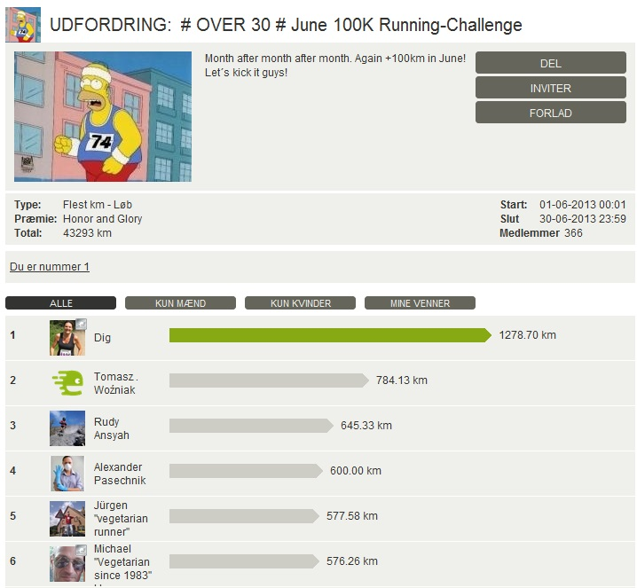 Challenge 2013.06.30 - # OVER 30 # June 100K Running