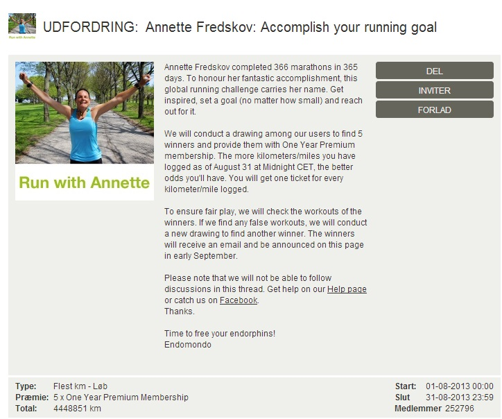 Challenge 2013.08.31 - Annette Fredskov Accomplish your running goal