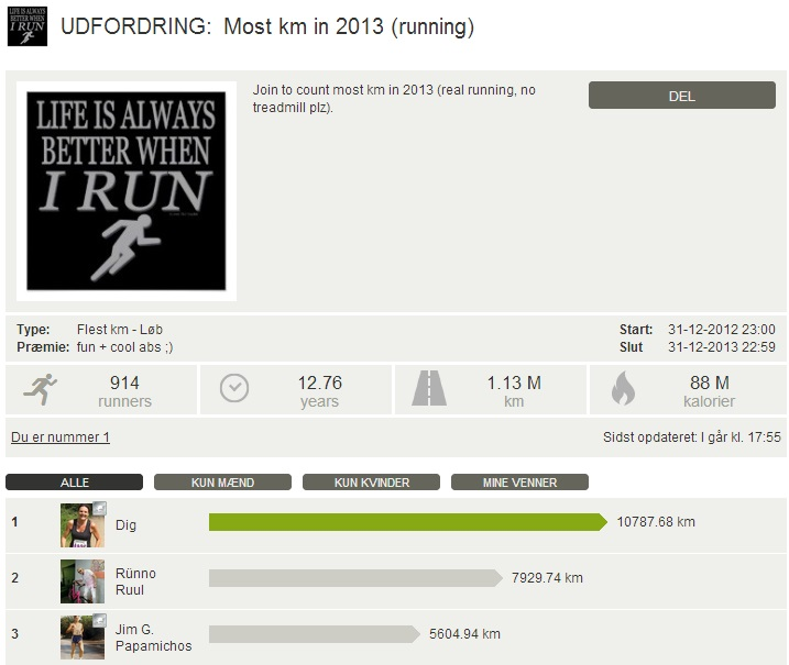 Challenge 2013.12.31 - Most km in 2013 (running)