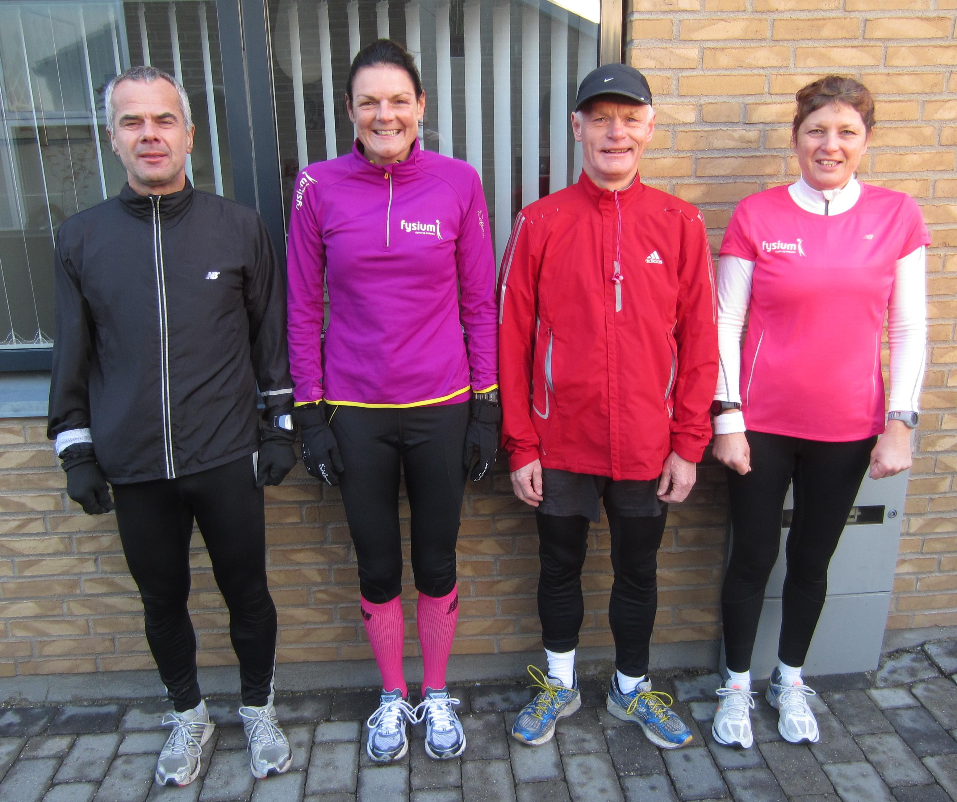 I dag var vi lige nok til et officielt marathon. Leif Skinnerup, Annette Fredskov, Preben Poulsen, Malene Jensen