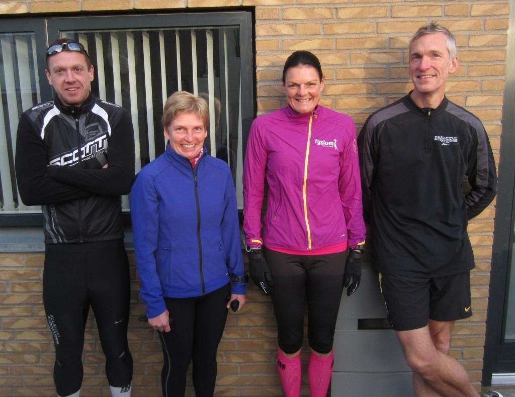 Fire rutinerede marathonløbere til start. Rene Hjorth Olsen, Lene Bruun, Annette Fredskov, Jerk W. Langer