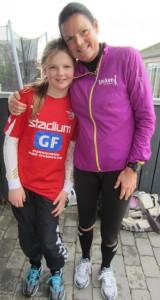 Super dejligt, at Emilie løb med mig de sidste 7 km :-)