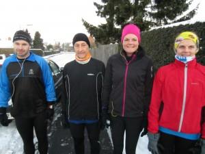 42.2 km forude i snelandskab. Morten Blok, Henning Baginski, Annette Fredskov, Maj-Britt Filsø Mathiassen