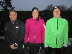 Klar til 42,2 km en mild vinterdag. Per Ejdorf, Annette Fredskov, Jörgen Nilsson
